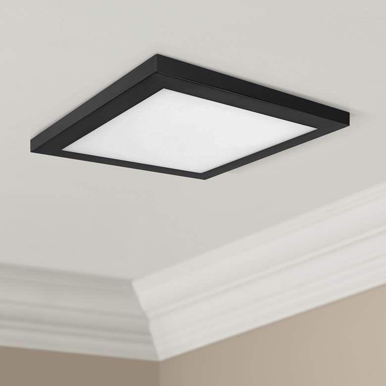 Platter 13 Square Black Led Outdoor Ceiling Light 61x62