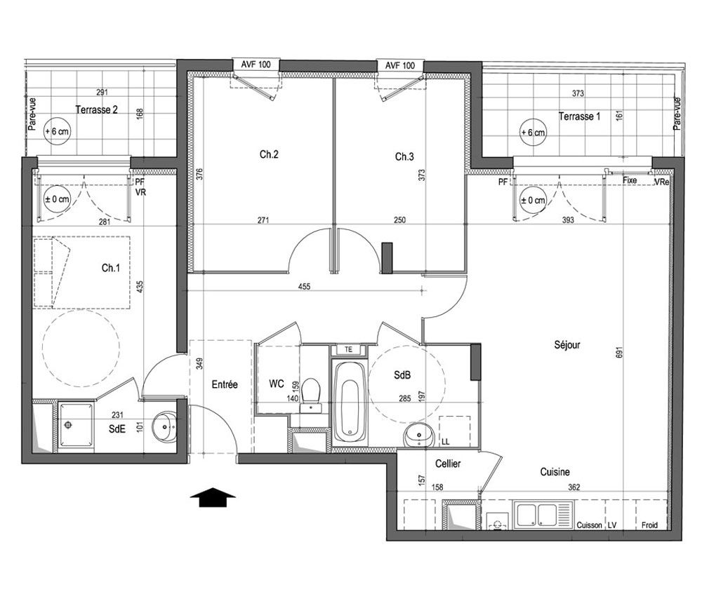 plan d'un appartement t4