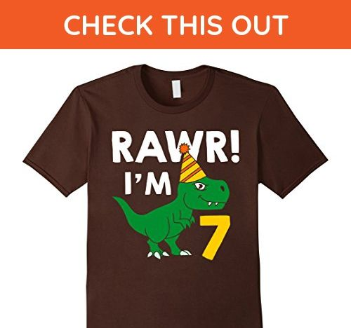 Mens 7th Birthday Boy Of Dinosaurs T Shirt 7 Years Old Small Brown
