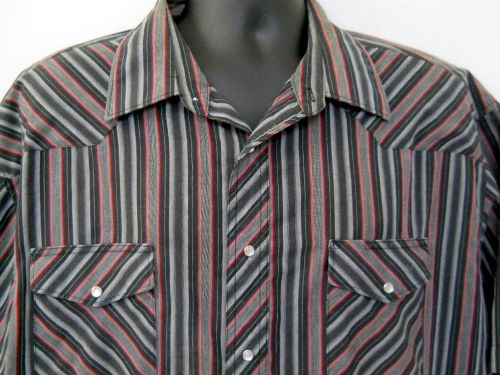 1d3e0daa90 Wrangler Mens Western Shirt 19x35 Blue Stripes Long Sleeves Faux Pearl  Closure  Wrangler  Western