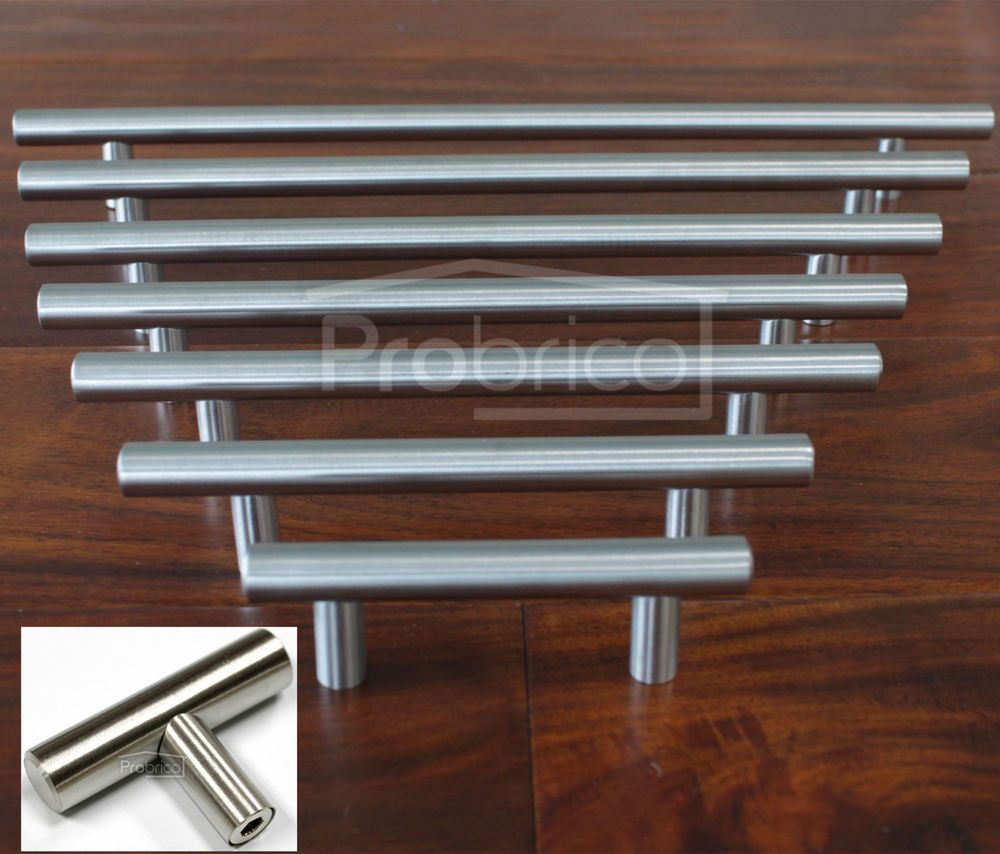 1 2 Brushed Stainless Steel T Bar Kitchen Cabinet Door Handles Drawer Pull