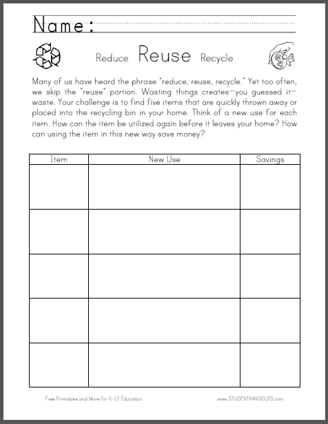Reuse Worksheet for National Thrift Week - The student\'s challenge ...