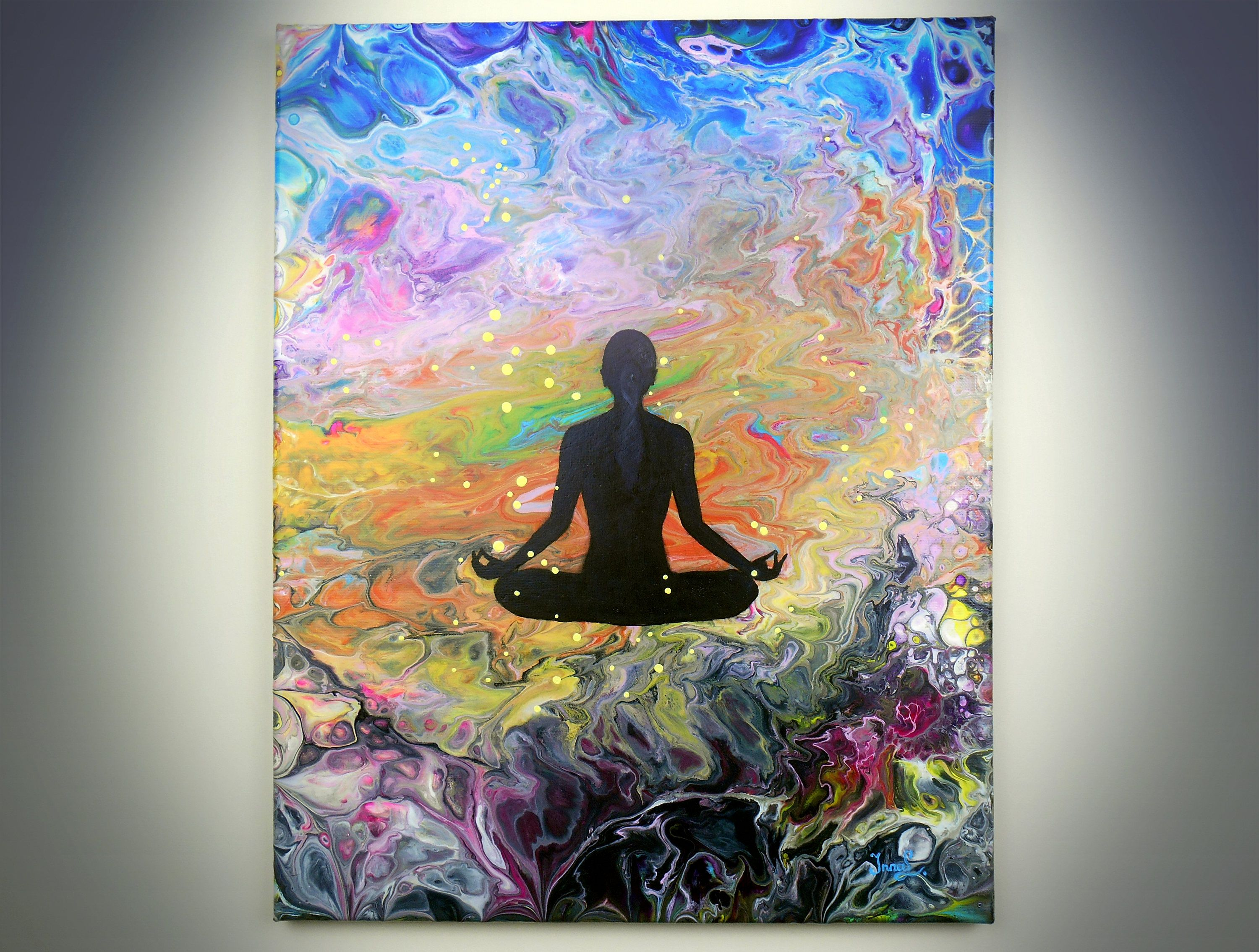 Original pouring acrylic painting on canvas abstract modern yoga painting buddha painting spiritual art deep meditation 16 x 20 figurative