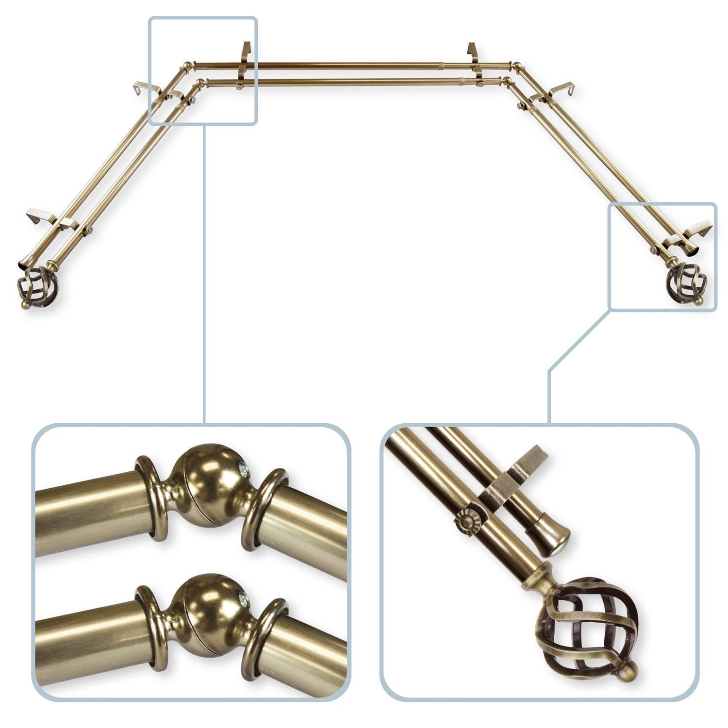 Twist Antique Brass Bay Window Double Curtain Rod Curtainsheadboard With Images Double Rod Curtains Bay Window Curtain Rod