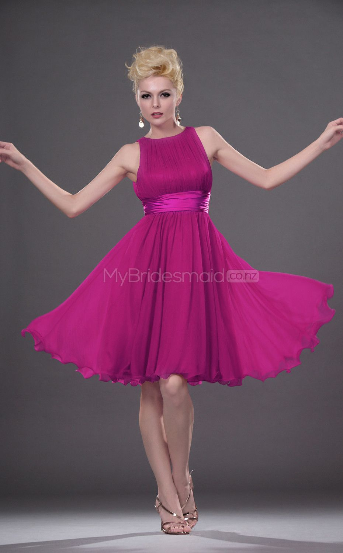 Fuchsia Satin Chiffon A-line Jewel Short Vintage Bridesmaid Dresses ...