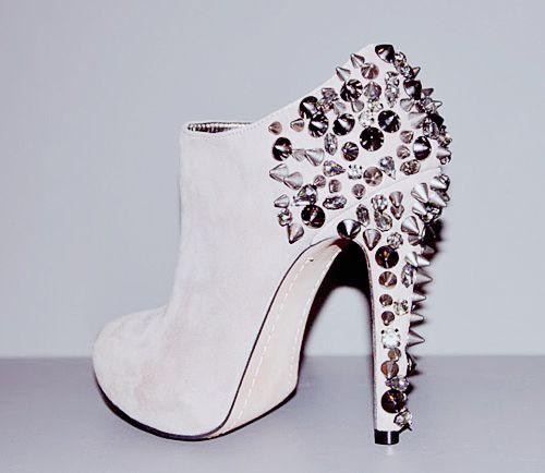 spiky white heels
