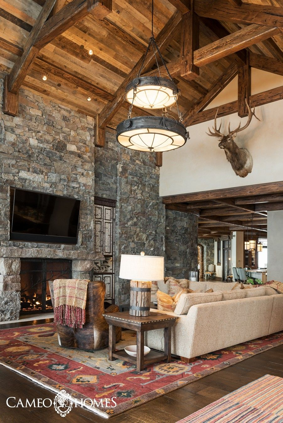 Rustic Family Room A Mountain Rustic Family Room In Wolf Creek Ranch Utah Built By