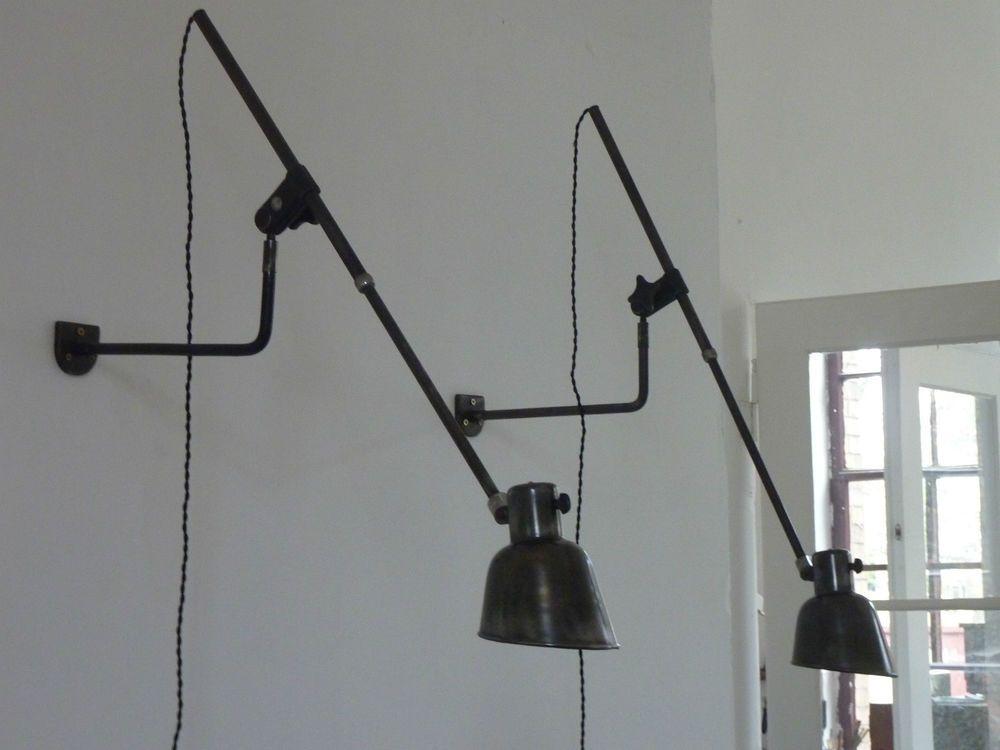 2x potence sconce wandlampe vintage industrie design. Black Bedroom Furniture Sets. Home Design Ideas
