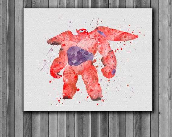 Baymax DISNEY  watercolor  Big Hero 6 Poster  by digitalaquamarine