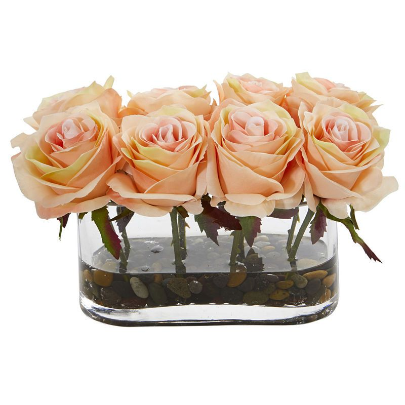 5 5 Blooming Roses In Glass Vase Artificial Arrangement Rose Floral Arrangements Rose Arrangements Artificial Flower Arrangements