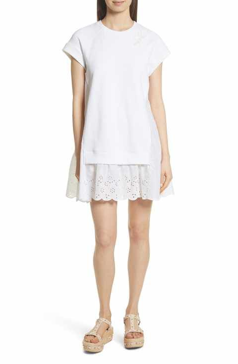 177ba110843da RED Valentino Eyelet Hem T-Shirt Dress | spring style | Nordstrom ...