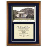 Brigham Young University Utah Diploma Frame with BYU Lithograph Art PrintBy Old School Diploma Frame Co.