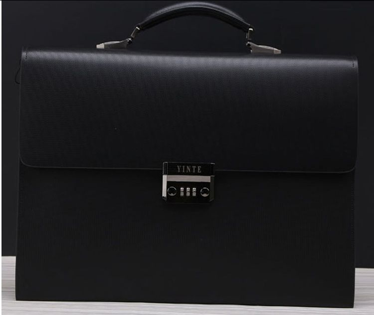 69f6130e0e PILAEO 2014 Genuine Leather Briefcase Lock Black Bag FF6XGV4EPI ...