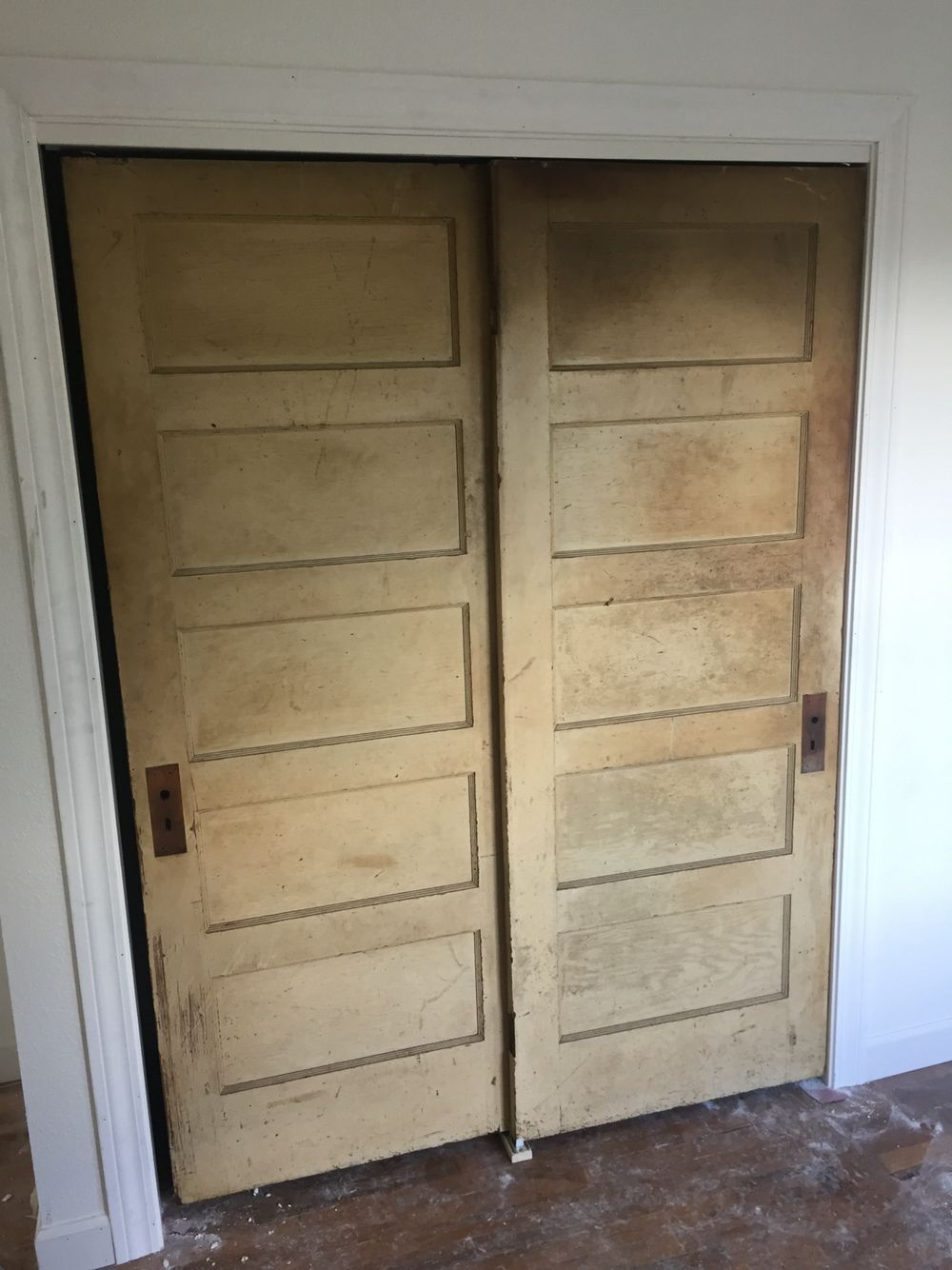Cassie Used These Old 5 Panel Doors To Make Sliding Closet Doors