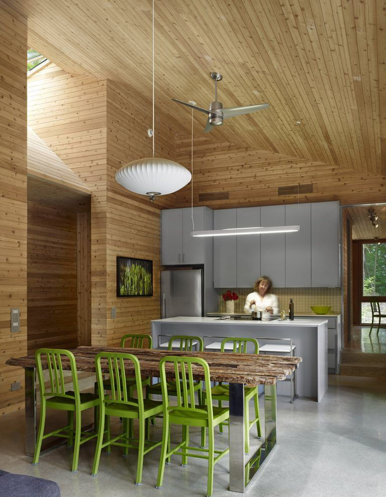 Material Continuity Speaks To Both Minimalist Modernism And Simplifying Costs Cedar Was Used Throughout On The Interior Walls Ceilings