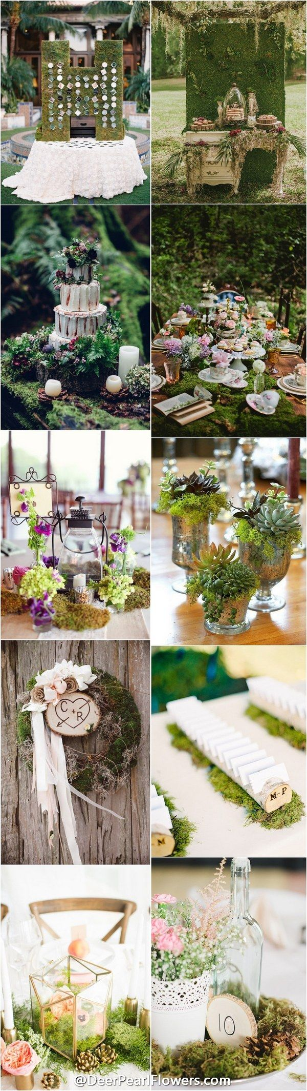 rustic greenery wedding color ideas - moss wedding ideas / http://www.deerpearlflowers.com/moss-decor-ideas-for-a-nature-wedding/