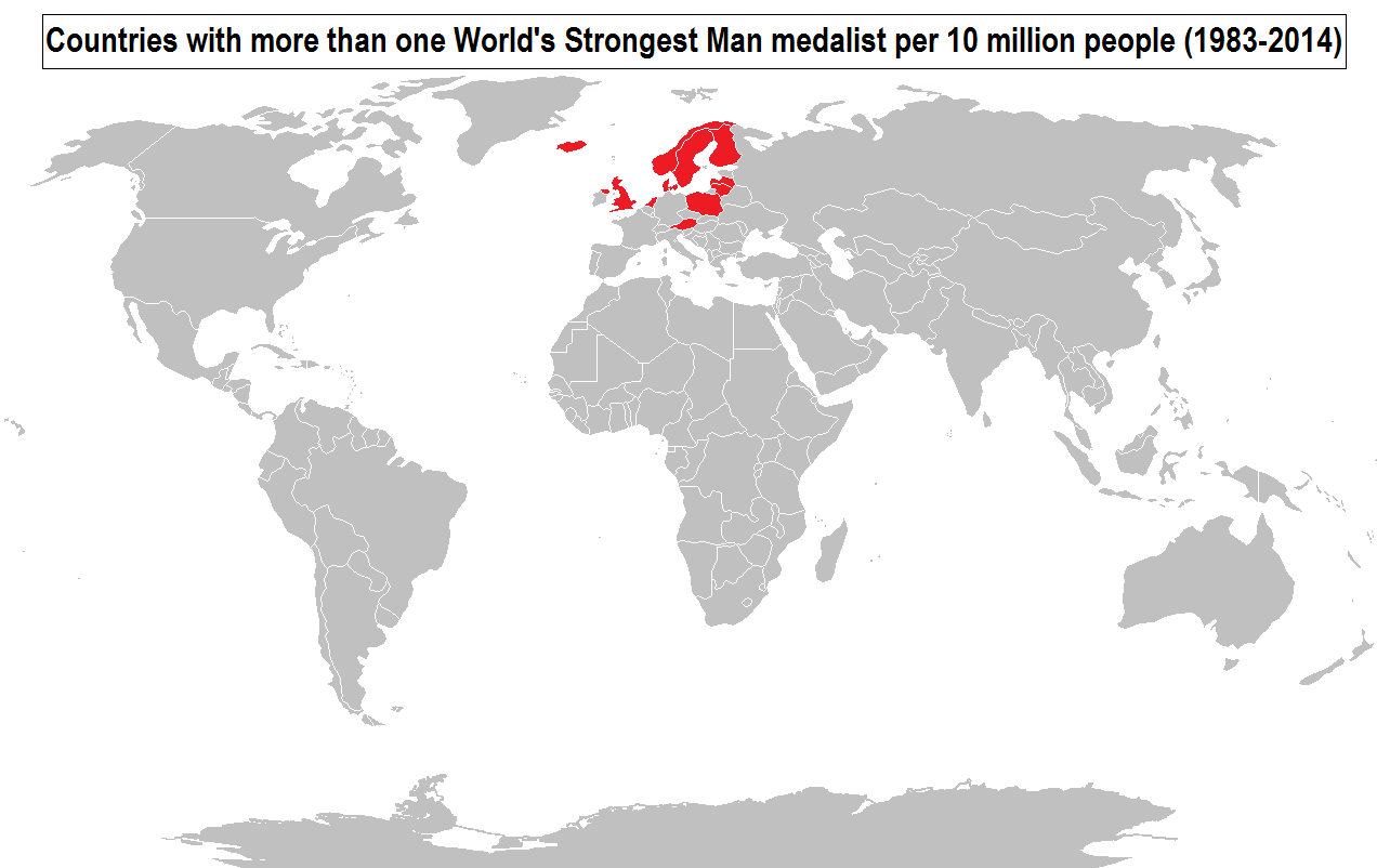 Countries with more than one worlds strongest man medalist per 10 world map indicating highest concentrations of the green eyed genetics blue eyed origins also corresponds to areas claimed to have been influenced by gumiabroncs Gallery