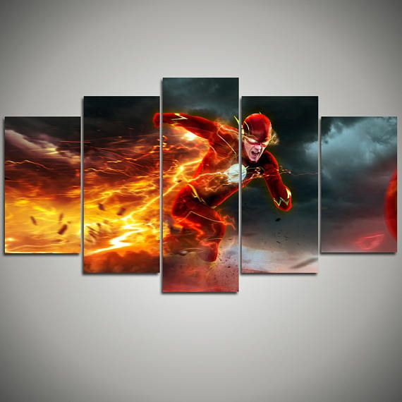 The Flash Canvas Print Superhero Wall Art Prints Barry Allen Large Wall Decor Dc Comics Home Decor Kids Room Wall Art Ready To Hang 9 Quadros
