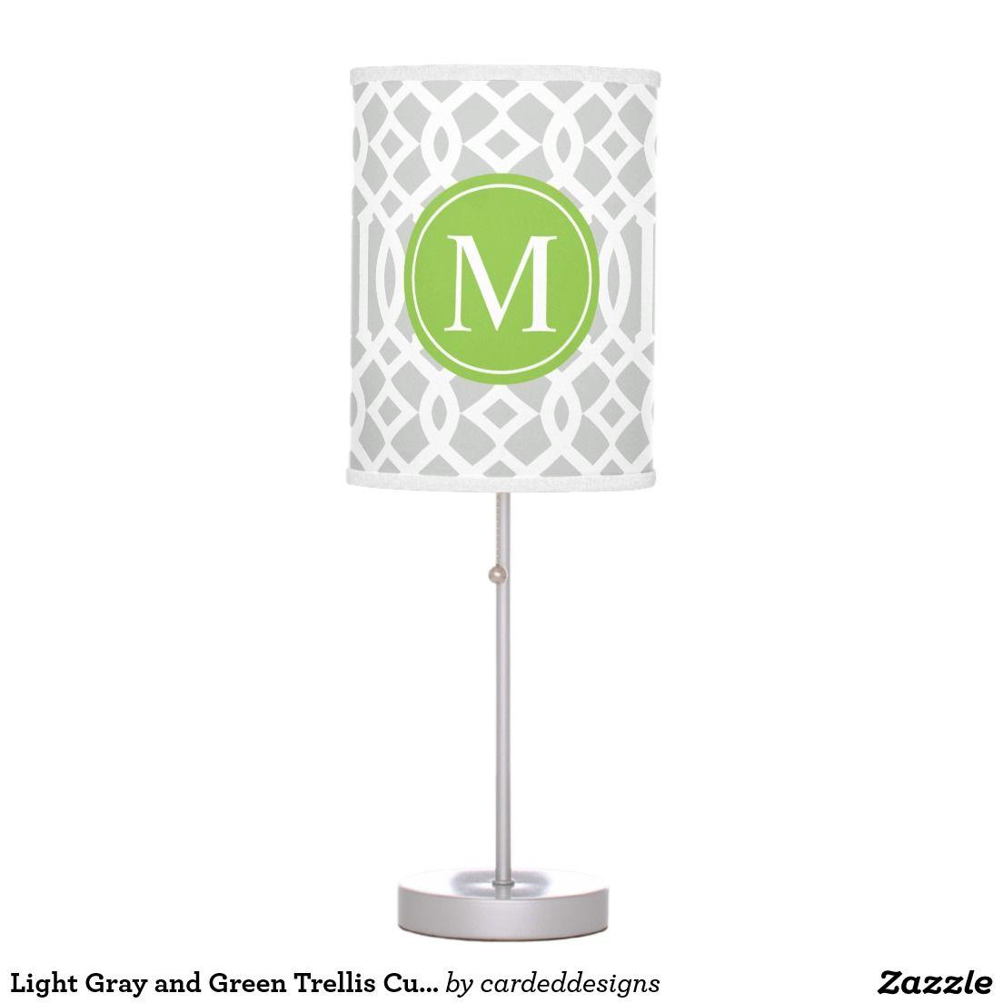 Light Gray and Green Trellis Custom Monogram Desk Lamp