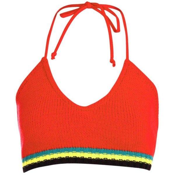 ffa0409958f Boohoo Zoey Carnival Trim Knitted Halter Bralet