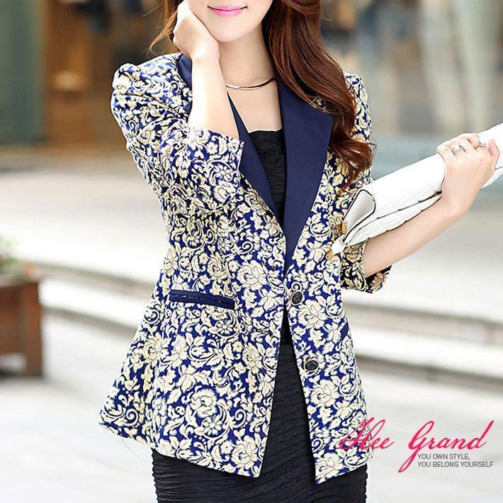 Dmart7deal TANGNEST Printing Ladies Blazer New L-4XL Plus Size Flower Print Short Women Suit Jacket Blazer Female Veste Suits WWX323