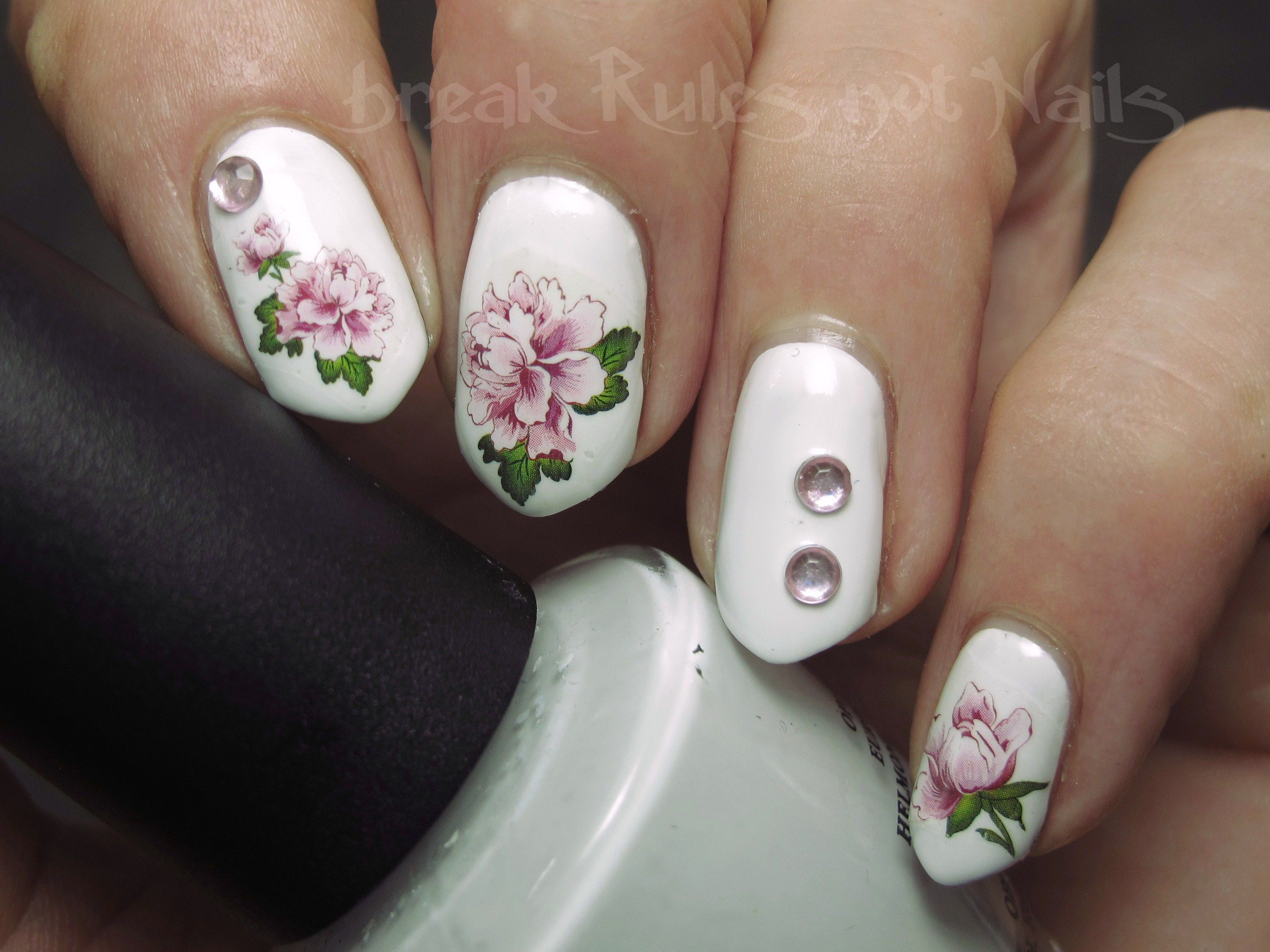 Day 14 flowers using waterslide decals and acrylic gems   My nail ...