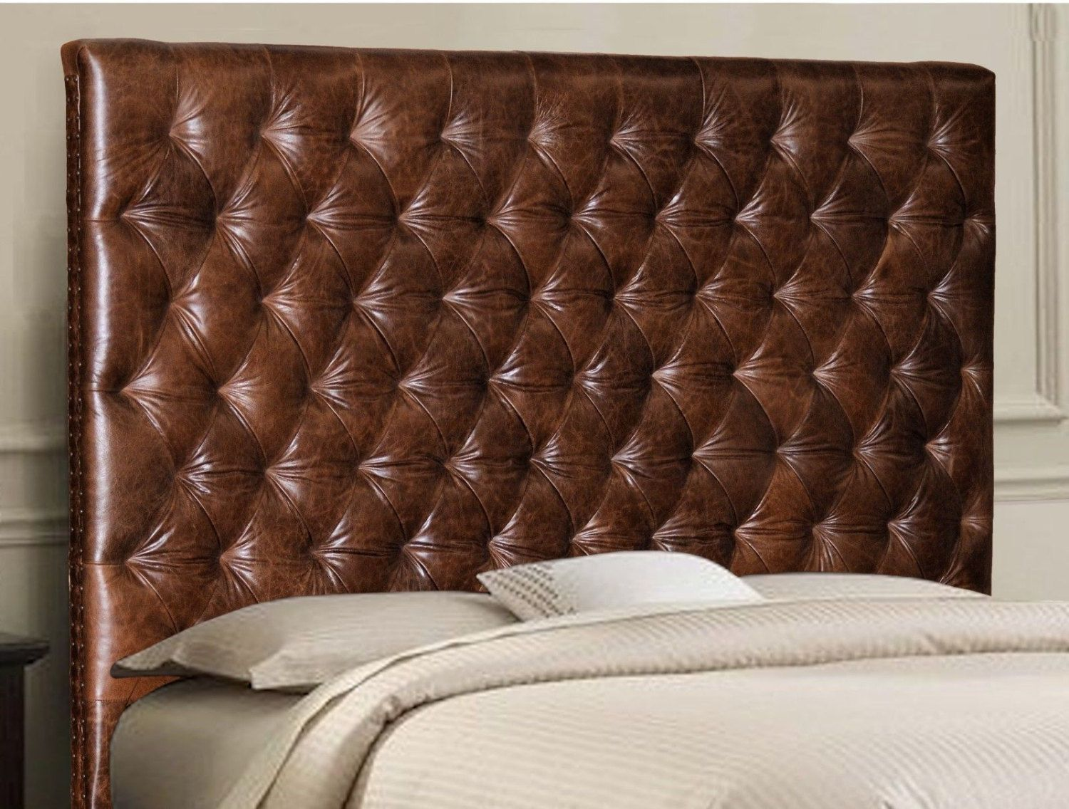 King Size Chesterfield Headboard W Deep Buttonless Diamond Etsy Genuine Leather Furniture Leather Furniture Leather Headboard