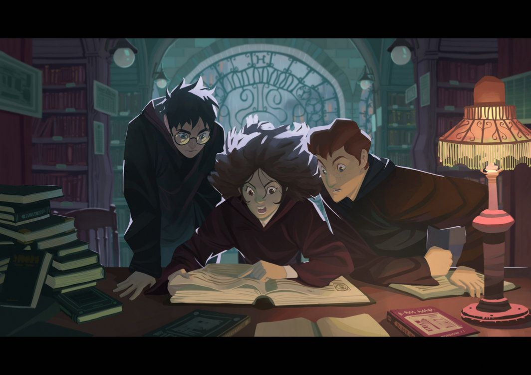 Harry Potter - In the library by Nesskain on DeviantArt