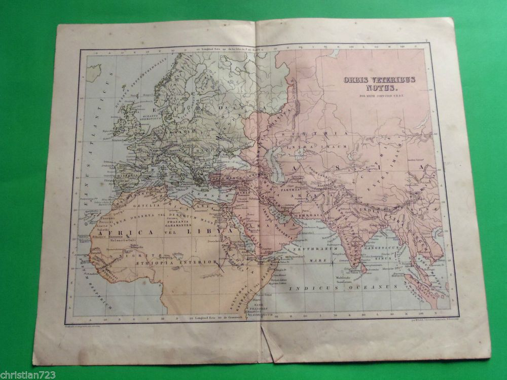 ca 1895 MAP ORBIS VETERIBUS NOTUS AFRICA