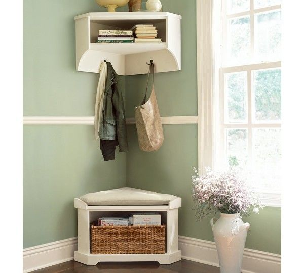 Furniture Enchanting Corner Hallway Storage Cabinet Using White Painted Wooden With Cushioned Bench And Rectangular