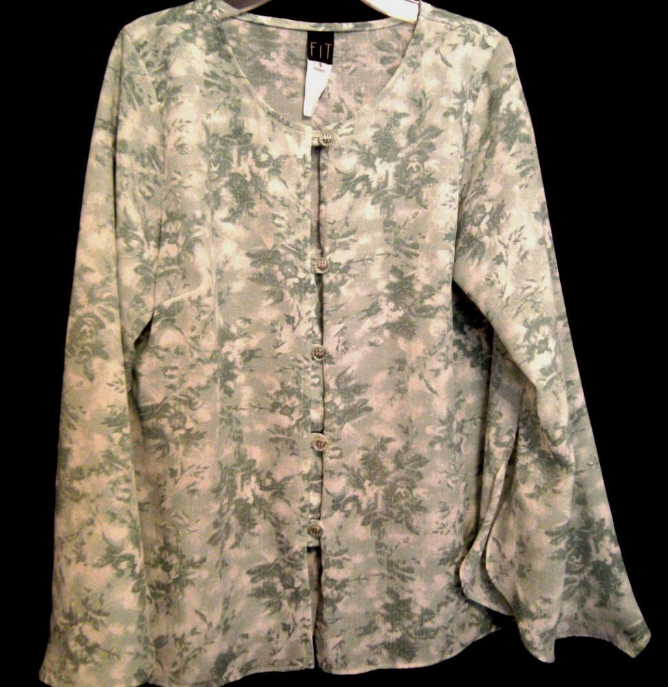 FIT Top Size Small Green Floral Poly Silver Clear buttons Scoop Peep Neck  #Fit #Blouse #Career