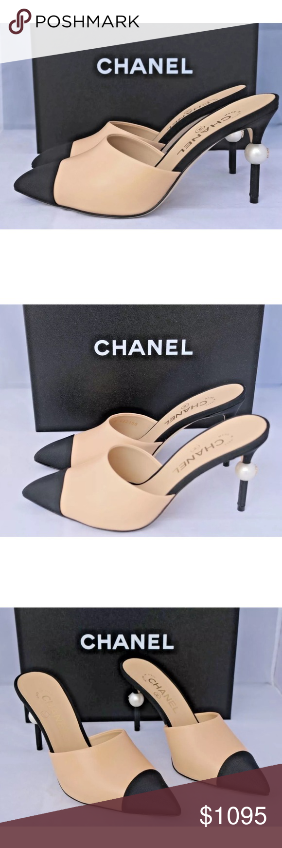 62e2f48c1 CHANEL BEIGE LEATHER SLIDES MULES SHOES PEARL NIB $1.1K 2016 CHANEL RUNWAY  BEIGE BLACK LEATHER