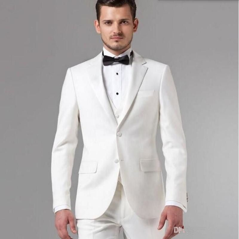 Costume Homme White Groom Suits Tuxedos Tailor Men Suit Latest Designs Style Groomsman Wedding