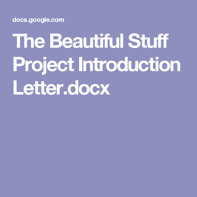 The Beautiful Stuff Project Introduction Letter.docx