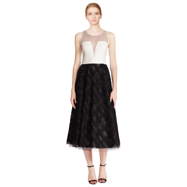 Sachin babi noir ribbon trim sleeveless tea length evening dress