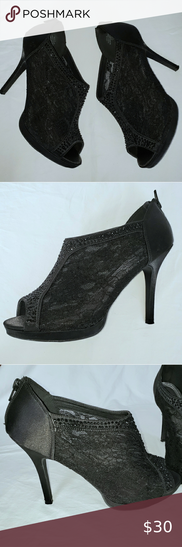 Daytrip from Buckle black satin & lace heels 10 Daytrip from Buckle black satin, lace, and black gems on these sexy high heels! Excellent condition with minor wear on the bottom form use. Very clean inside and out. Look at all the details, very cute! Zips up in the back of the heel. Heels measures roughly 4.5in, size 10. Please ask any questions you may have. Always willing to negotiate. #43 Daytrip Shoes Heels