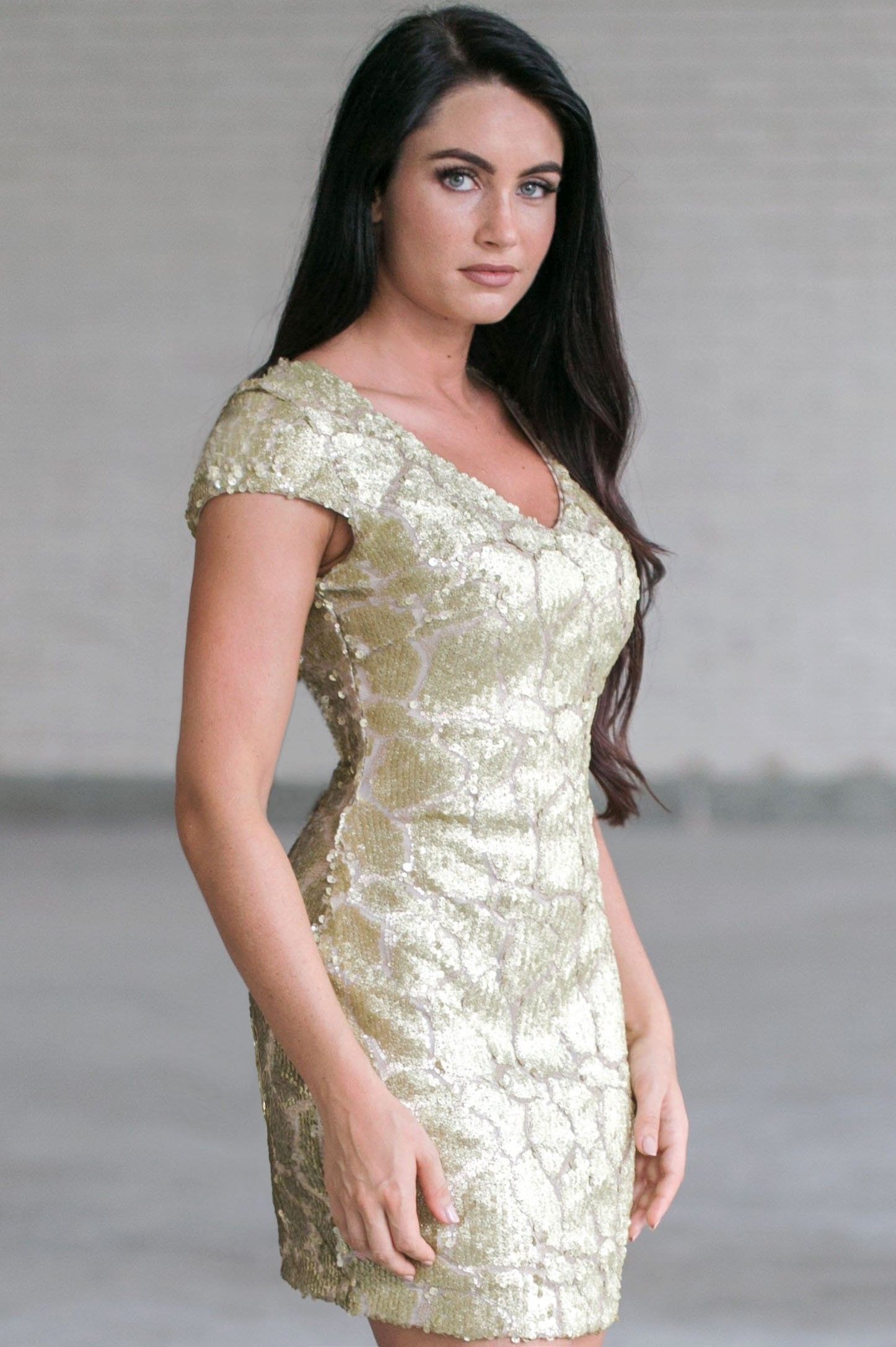 Gold Party Dress, Cute Gold Sequin Cocktail Dress, Boutique Dress ...