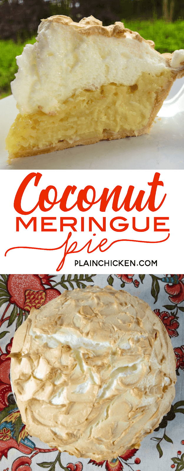 Coconut Meringue Pie - Plain Chicken