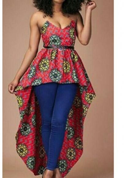 06f9e3e172c6 Red Floral Print Bandeau Irregular Backless Off Shoulder High-low  Swallowtail Maxi Dress