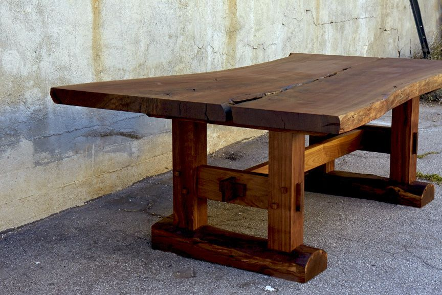 dining table walnut slab top solid black trestle base hand perth for sale west elm