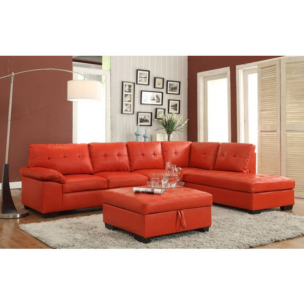 2 Pc Emily Ii Collection Red Faux Leather Sectional Sofa Set With 20 Liked On Polyvore Featuring Home Furniture Sofas Couch