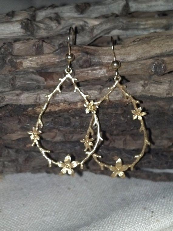 Beautiful petite Gold floral hoop earrings by DeetabyDesign, $28.00