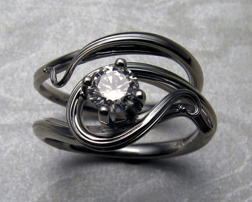 free form art nouveau style engagement ring set jewelry