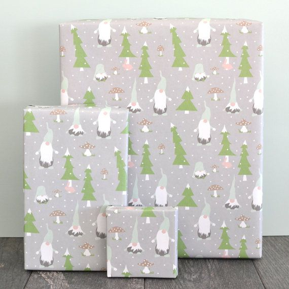 Gnomes Scandinavian Christmas Wrapping Paper Sheet By Revel Co Ws1108 Christmas Wrapping Christmas Wrapping Paper Christmas Paper