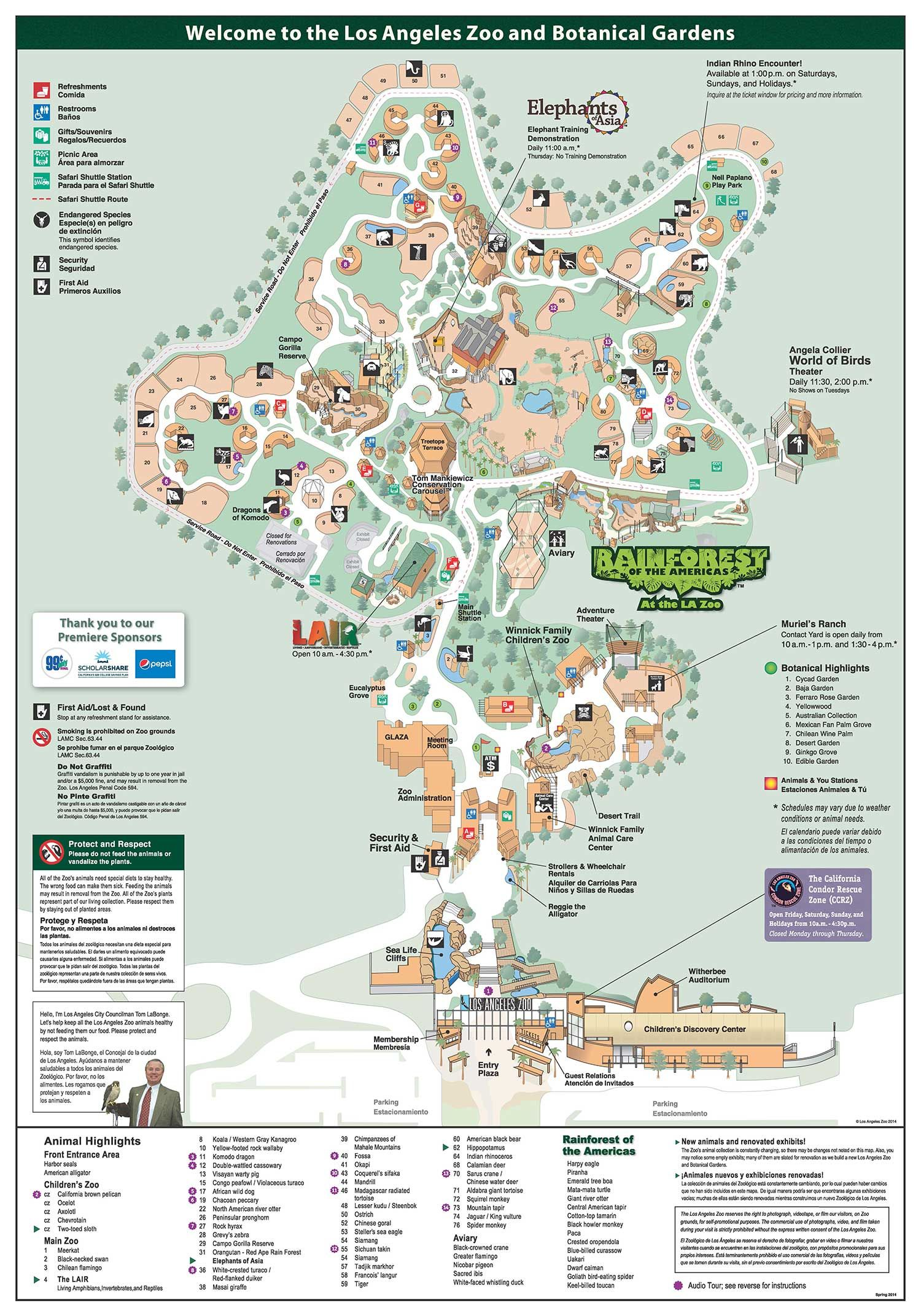 Los Angeles Zoo and Botanical Gardens Zoo Map Los Angeles Zoo and
