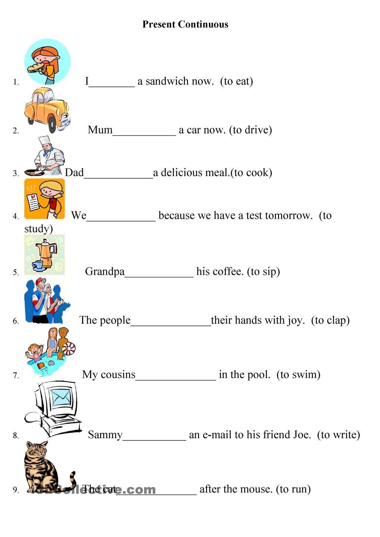 Presente Continuo Material Escolar En Ingles Hojas De Inglés Para Niños Ingles Para Preescolar
