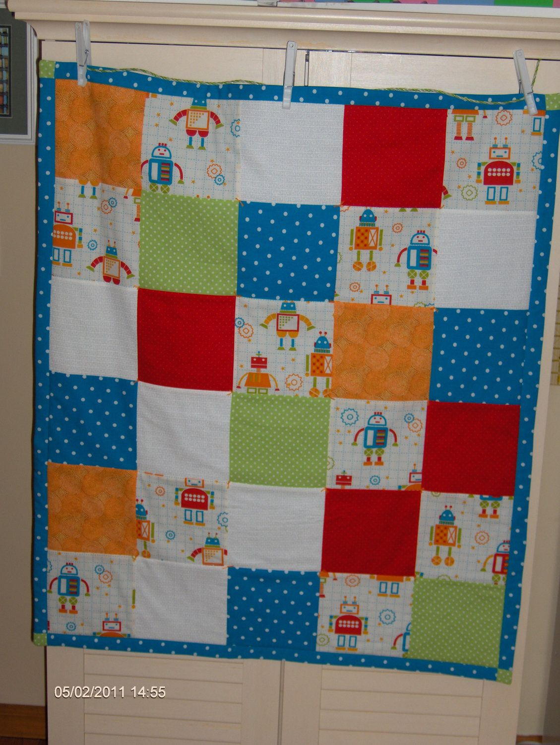 Robots and Polka Dots Baby Boy Patchwork Quilt, Play Mat in ... : quilt play - Adamdwight.com