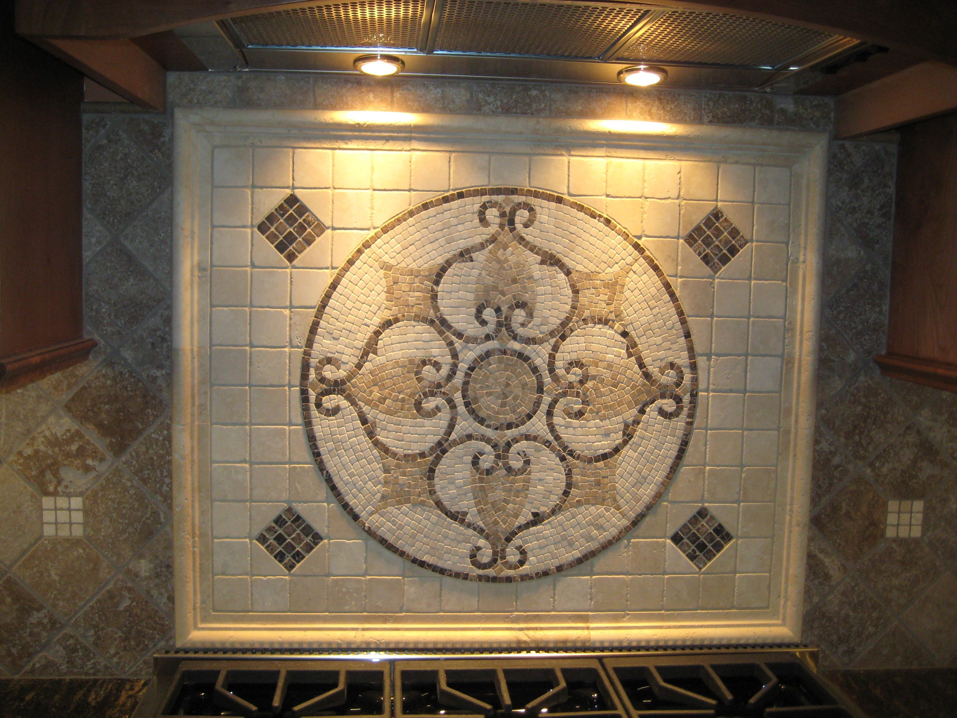 Tile Medallion Custom Tile Backsplash Backsplash Mural Kitchen