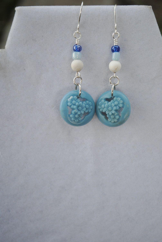 Blue button earrings; vintage button earrings; repurposed earrings; blue bead earrings; upcycled earrings; blue flower earrings by Rocks2Gems2Wire on Etsy