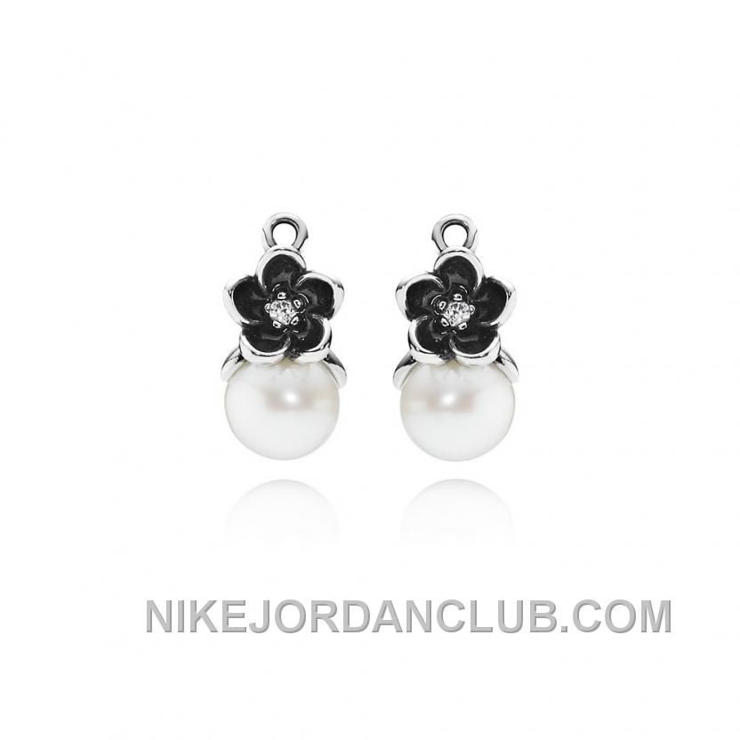 36494c485 ... Pandora Mystic Floral wWhite Pearl, Clear CZ and Black Enamel Earring  Charms ...